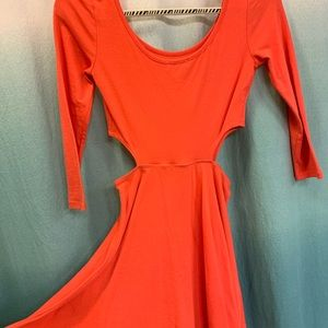 Orange PacSun skater dress with side cutouts